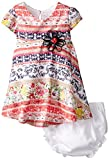 Rare Editions Baby Baby Girls' Print Lace Skater Dress, Multi Colored, 18 Months