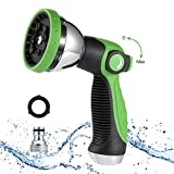 MIUO Garden Hose Nozzle 3/4 Heavy Duty Adjustable 10 Spray Patterns Metal Spray Nozzle No Squeeze Sprayer Thumb Control Leak-Proof Hand Hose Spray Garden Watering Car Washing Pet Shower House Cleaning