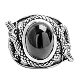 Epinki 925 Sterling Silver Punk Rock Vintage Gothic Black Onyx Two Snake Ring for Men Size 10