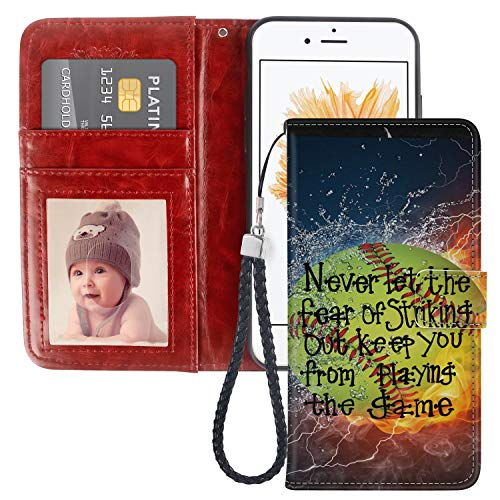 Pingge iPhone 5C Wallet Case Tennis Fire and Water Lightweight Slim Shockproof Cellphone Case Cover with Card Slots Kickstand for iPhone 5C - 1X (Tennis Cases For Iphone 5c)