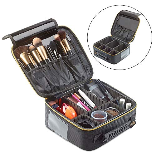 1790 Makeup Bag Small - Multi-function Train Case - Adjustable Dividers - Lock-Friendly Zipper - Jewelry and Electronics Storage - Cosmetic and Brush Holder - Odor Free from 1790