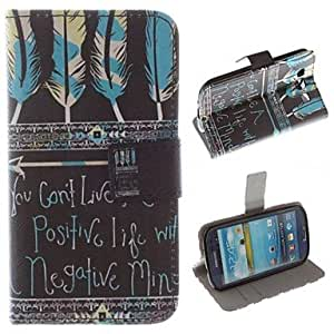 ZL Feathers and English Letters Pattern PU Leather Full Body Case with Stand and Card Slot for Samsung Galaxy S3 I9300