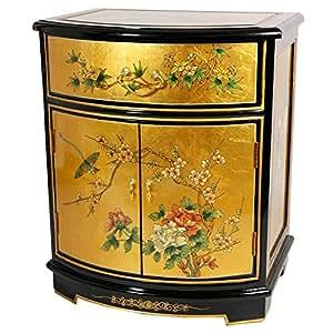 Oriental Furniture Gold Leaf Round Front Shoe Cabinet