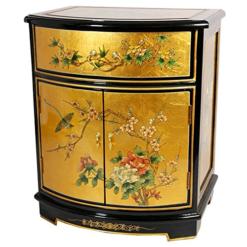 Cabinet Asian Painted - Oriental Furniture Gold Leaf Round Front Shoe Cabinet