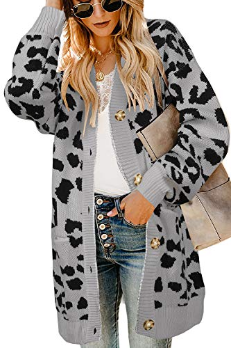 Ferbia Women Leopard Cardigan Long Open Front Sweaters Oversized Loose Knit Coat Draped Jackets with Pockets ()