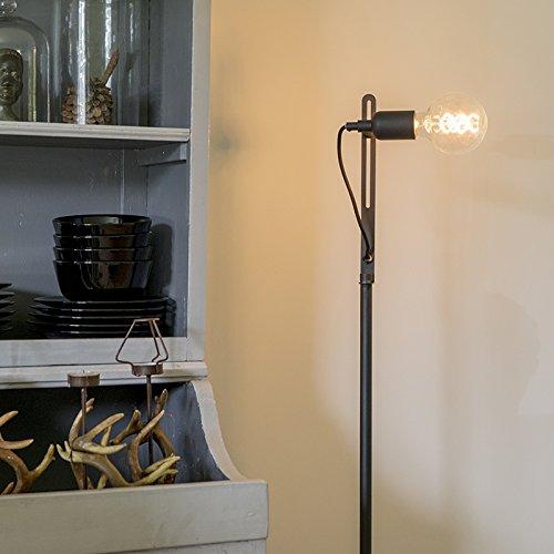 QAZQA Moderno Lámpara de pie moderna negra - SLIDE Metálica ...