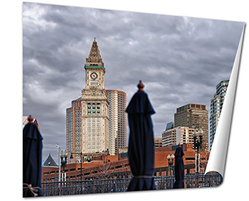 Ashley Giclee Fine Art Print, Custom House Tower And Cafe With Umbrellas Boston, 16x20, - Is Downtown Boston Where