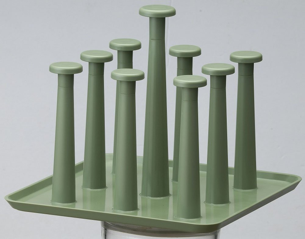 Fashionclubs Plastic Cups Drying Holder Rack,Drainer Dryer Tray Holder Stand For 9 Mugs (Green)