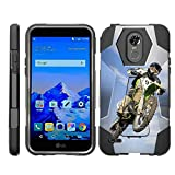 TurtleArmor | Compatible for LG Stylo 3 Case | LG Stylus 3 Case | Stylo 3 Plus [Dynamic Shell] Dual Hybrid Absorber Impact Silicone Cover Kickstand Sports and Games Design - Motocross Bike