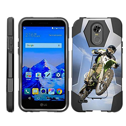 TurtleArmor | Compatible for LG Stylo 3 Case | LG Stylus 3 Case | Stylo 3 Plus [Dynamic Shell] Dual Hybrid Absorber Impact Silicone Cover Kickstand Sports and Games Design - Motocross Bike by TurtleArmor