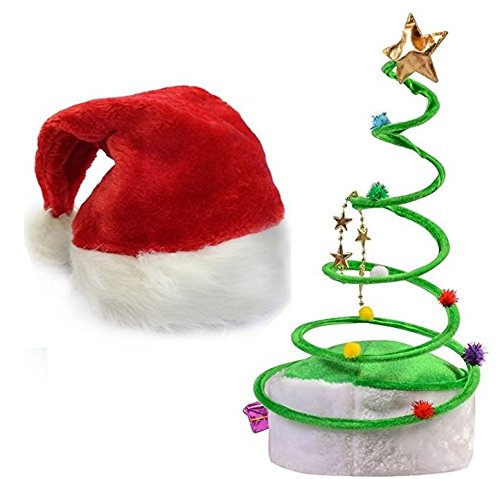 funny christmas hats this winter theme red plush santa claus green coil hats set of 2 for teens adults best costume accessory ideas for x mas holiday - Funny Christmas Hats Adults