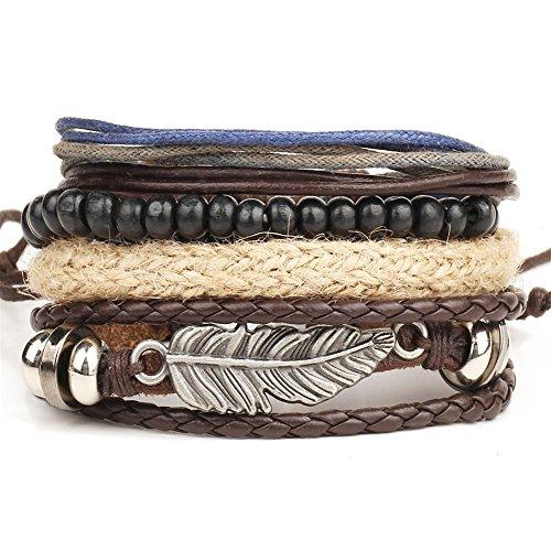 Ramida Angel wings feather alloy multi-layer wooden beads braided bead wax bracelet bracelet (Watch Onepiece Online)