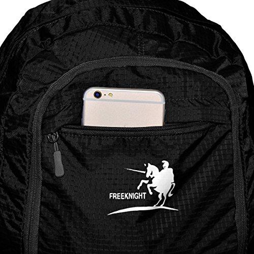 35L Backpack Mochila Ultraligera Plegable Bolsa de Viaje, Ideal para Senderismo Escalada Ciclismo Compras y Acampa, Los Deportes Al Aire Libre Nylon Impermeable Nailon Negro, by LC Prime Negro