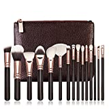 Makeup Brushes Set 15 Pieces Professional Cosmetic Makeup Brush Kit with Wood Handle Synthetic Bristle Leather Pouch Bag for Face Powder Foundation Blending Eye Shadow Concealer (Black)