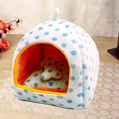 KAKA(TM) Pets Cute Warm Bed Dogs Sleeping House Sky Blue Color Dark Blue Dots S (Compact Beds For Small Rooms)