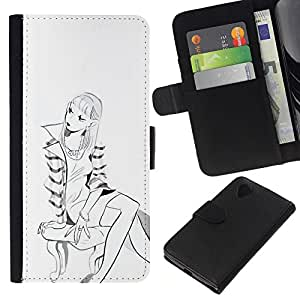 KingStore / Leather Etui en cuir / LG Nexus 5 D820 D821 / Escudo con estilo de dibujo Sketch Fashion Girl Art
