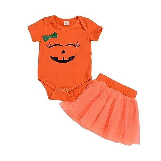 0f0a23ffeb03 Hatoys Halloween Romper Cute Baby Girls Bodysuit Jumpsuit Pumpkin Rompers + Skirt  Costume Outfits Set (