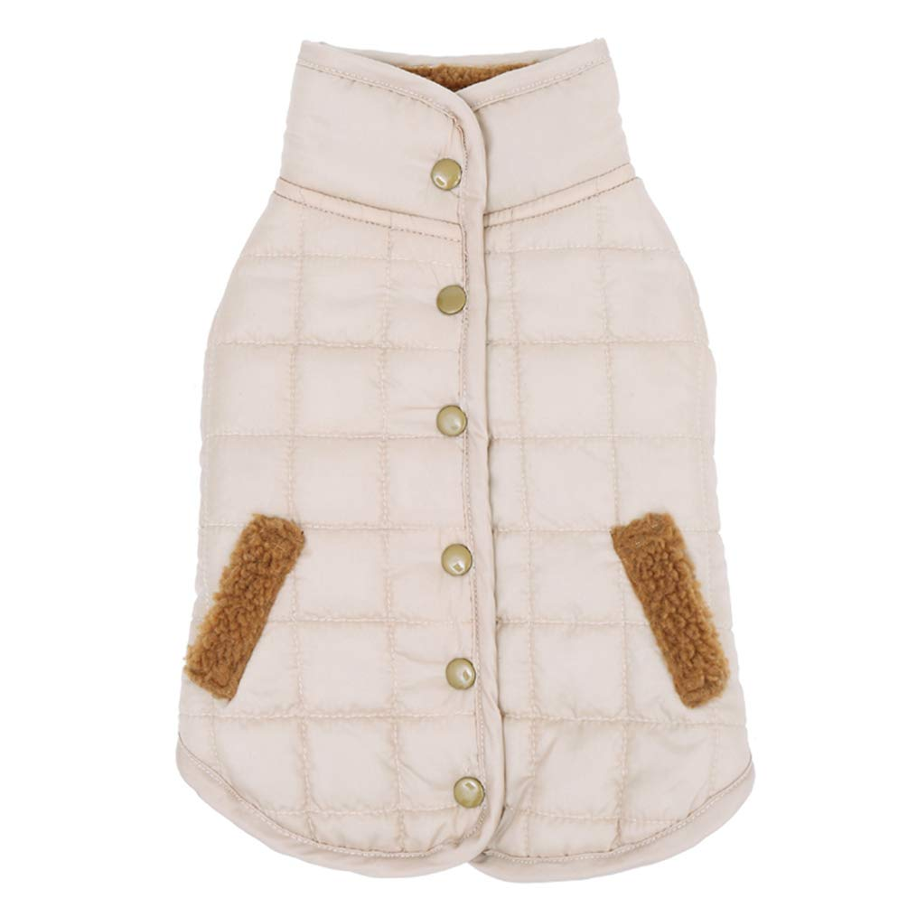 Beige 25 Beige 25 AOBRITON Pet Clothes Puppy Outwear Costume for Winter Dog Warm Coat Down Jacket Vest Pet Puppy Dog Cloth Rabbit 4 colors Pet Supplies