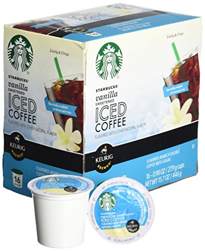 Keurig Starbucks Vanilla Sweetened Iced Coffee K Cup 16 Ct