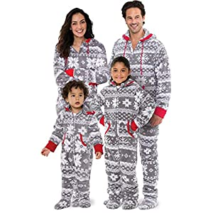 PajamaGram Family Pajamas Matching Sets – Nordic Fleece Christmas Onesie, Gray