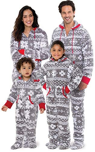 PajamaGram Family Pajamas Matching Sets - Fleece Onesie, Gray, Women, 1X, 16-18