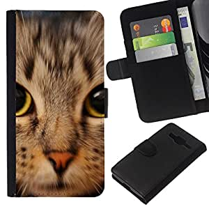 All Phone Most Case / Oferta Especial Cáscara Funda de cuero Monedero Cubierta de proteccion Caso / Wallet Case for Samsung Galaxy Core Prime // Kitten American Shorthair Maine Coon