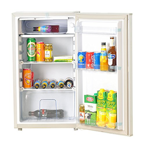 SMETA Solar-Powered Refrigerator Freezer AC DC Single Door Compact Mini Fridge,3.25 ft