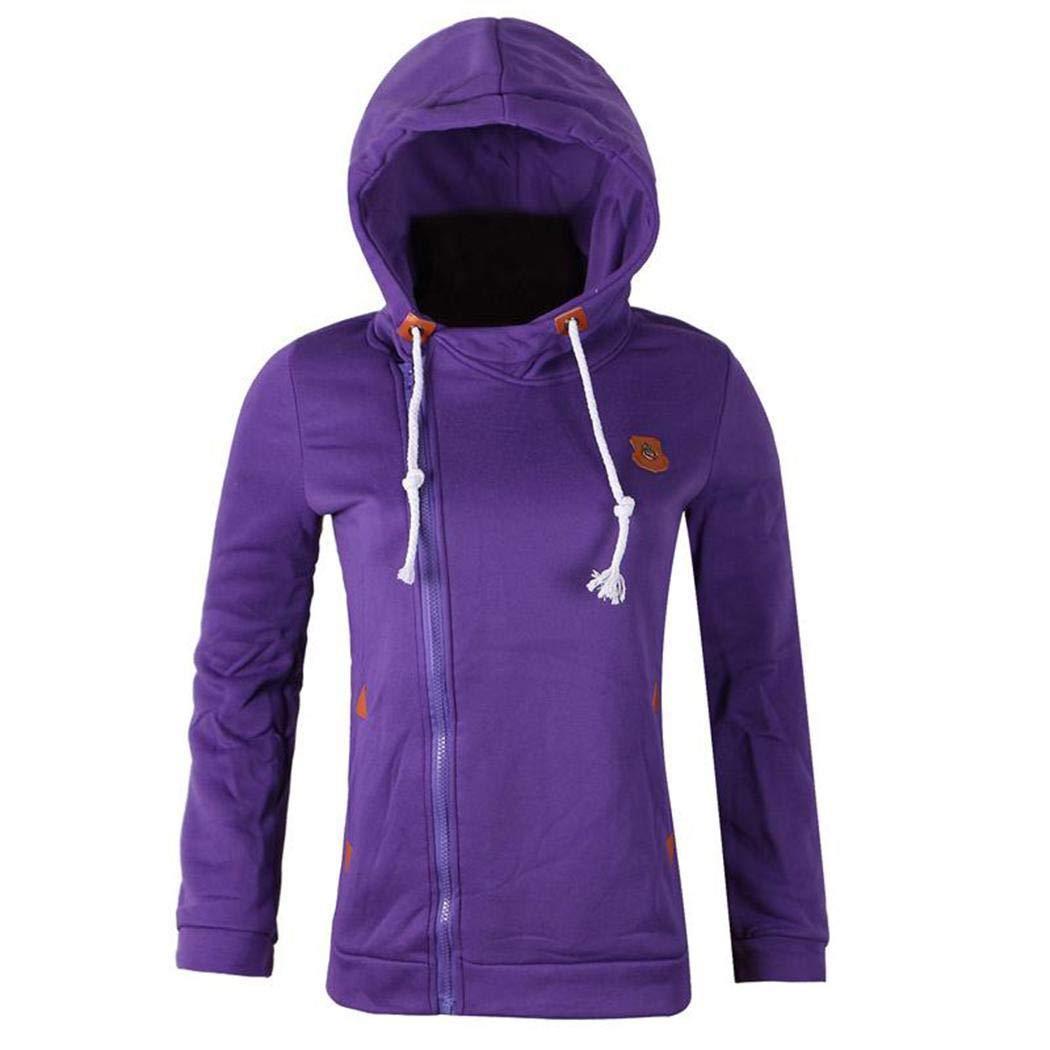 Halffle Womens Oblique Zipper Hoodie Sweatshirt Slim Fit Coat Outwear Fashion Hoodies