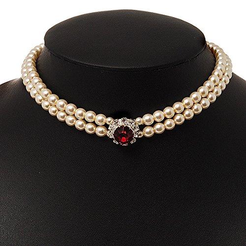 868a1f58d3a63 2 Strand Light Cream Imitation Pearl CZ Wedding Choker Necklace ...