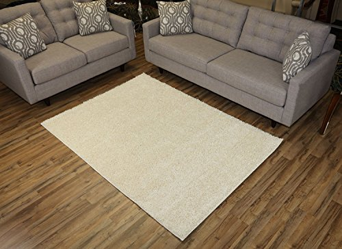 Off White Contemporary Rug (RugStylesOnline, Shaggy Collection Shag Area Rugs, 5'x7' - Ivory (Off White))