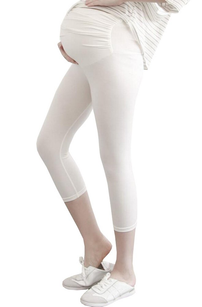 Foucome Spring Summer Women's Maternity Lounge Pants Fold Over Waistband Comfortable Pregnancy Leggings White