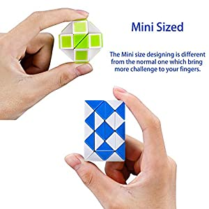 Speed Cube Snake Ruler Twisty Fidget Cube Puzzle Pack Stickerless Magic Snake Game Toys Collection Brain Teaser Christmas Gift for Kids
