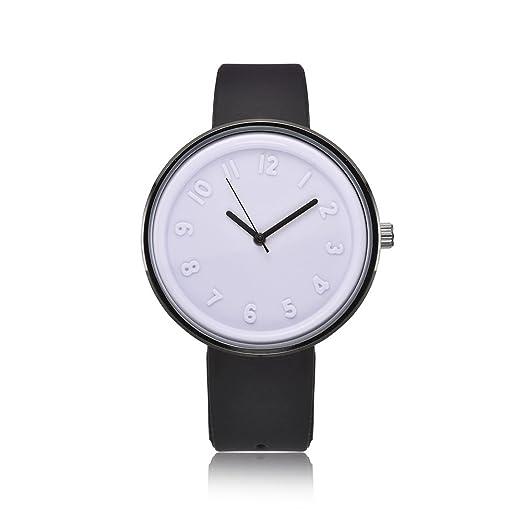 Fashion pulsera de reloj macho V6 marca cuarzo hombre relojes silicona muñeca banda reloj Blanco: Amazon.es: Relojes
