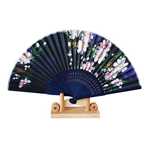 Women Hand Held Silk Folding Fan with Bamboo Frame - with a Fabric Sleeve for Protection for Gifts - Butterfly and Flowers