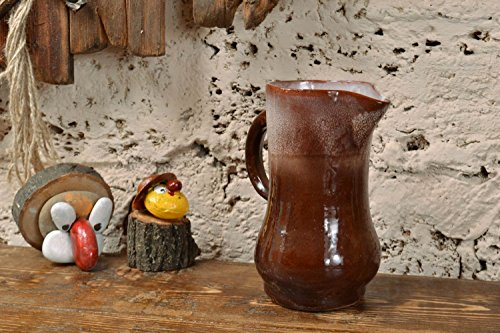 Handmade Glazed Clay Pitcher Of Brown Color Beautiful Interior Pottery 1 L
