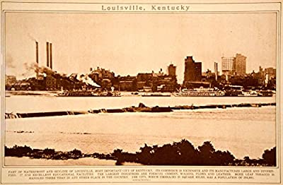 1923 Rotogravure Louisville Kentucky City Ohio River Cityscape Skyline Historic - Original Rotogravure