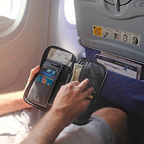 50% O F F - Familien-Reisepasshülle, RFID-Geld- und Dokumenten-Organizer mit Umhängebügel – Schwarz