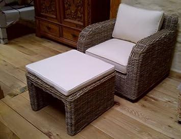Mimbre Natural kubu gris manga sillón y reposapiés Zara ...