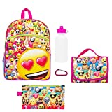 Kids Glitter Emoji 5-pc. Backpack & Lunch Bag Accessories Set