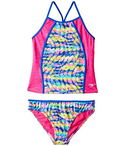 Speedo Rhythmic Tie Dye Tankini Two Piece Swimsuit, Multi, Size 7 (Speedo Tankini Piece 2)