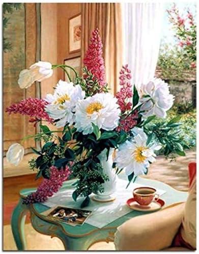 数字キットによるDIYオイルペイント-コーヒーテーブルの白い花大人のためのキャンバスの油絵とブラシ付きの初心者の描画-フレームなしの16x20インチ