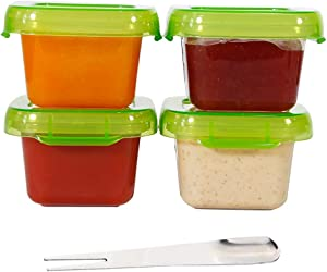 Ksooly Condiment Containers with Lids, 4 Pack | 4 oz. Salad Dressing Container to Go | Small Freezer Food Storage Sauce Cups | Leak Proof BPA Free, Reusable