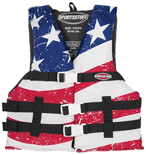 Life Preserver Vest - SPORTSSTUFF Stars & Stripes Life Jacket Youth General Boating PFD