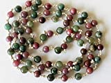 KALISA GEMS Beads Gemstone 5 feet Ruby Emerald Plain Round Balls Beads in 925 Silver Wire Wrapped Rosary Style Chain Emerald Ruby Beaded Chain