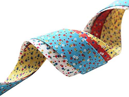 Hannah Blossom Popcorn Flower Fabric Ribbon White+Yellow+Poppy Red+Blue 4Color SET(Width 1.18