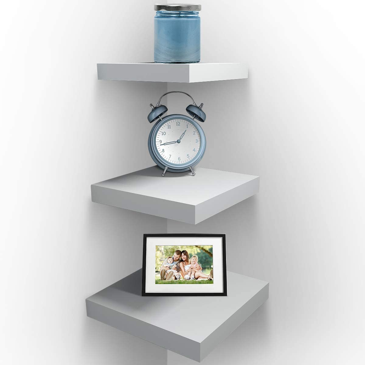 Sorbus Wall Mount Corner Shelves, Square Hanging Wall Shelves Decoration, Perfect Trophy Display, Photo Frames, Home Décor, Set of 3 (3-Piece Square Set - White)