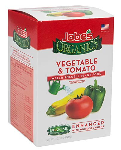 Jobe's Organics Vegetable & Tomato Fertilizer, 3-1-2 Water Soluble Plant Food Mix with Biozome, 10 oz Box Makes 30 Gallons of Organic Liquid Fertilizer