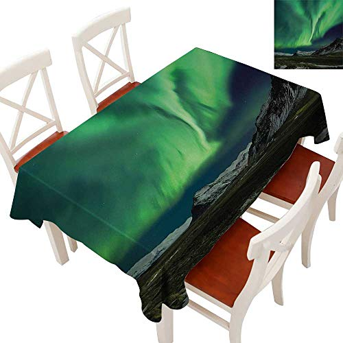 Elegant Waterproof Spillproof Polyester Fabric Table Cover Tablecloths for Rectangle/Oblong/Oval Tables Flash of Aurora Polaris above Mountains in Night Picture Jade and Army Green Blue Grey 54