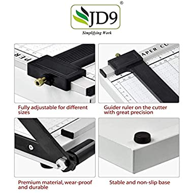 JD9 Paper Cutter A4 Heavy Duty Professional Paper Trimmer, Guillotine Craft Machine for Office, Home, Craft, Photo Studio (A4, B5, A5, B6, B7) (White, 12.5 x 9.8 x 1.2 inch) 12
