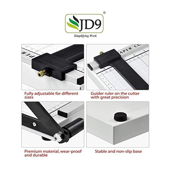 JD9 Paper Cutter A4 Heavy Duty Professional Paper Trimmer, Guillotine Craft Machine for Office, Home, Craft, Photo Studio (A4, B5, A5, B6, B7) (White, 12.5 x 9.8 x 1.2 inch) 5